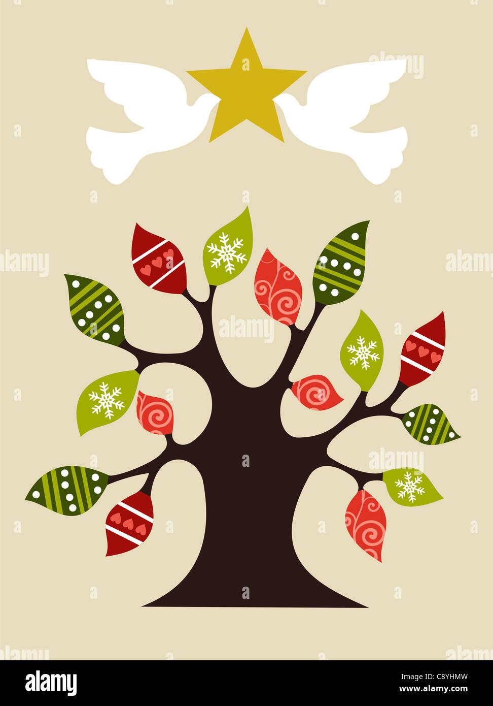 Árbol de navidad con ritmo palomas sosteniendo y brillante estrella dorada en la parte superior. Archivo vectorial Imagen De Stock