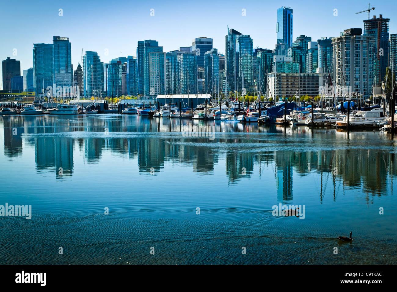 Ciudad de Vancouver como se ve desde el parque Stanley, B.C., Canadá, el muelle Imagen De Stock