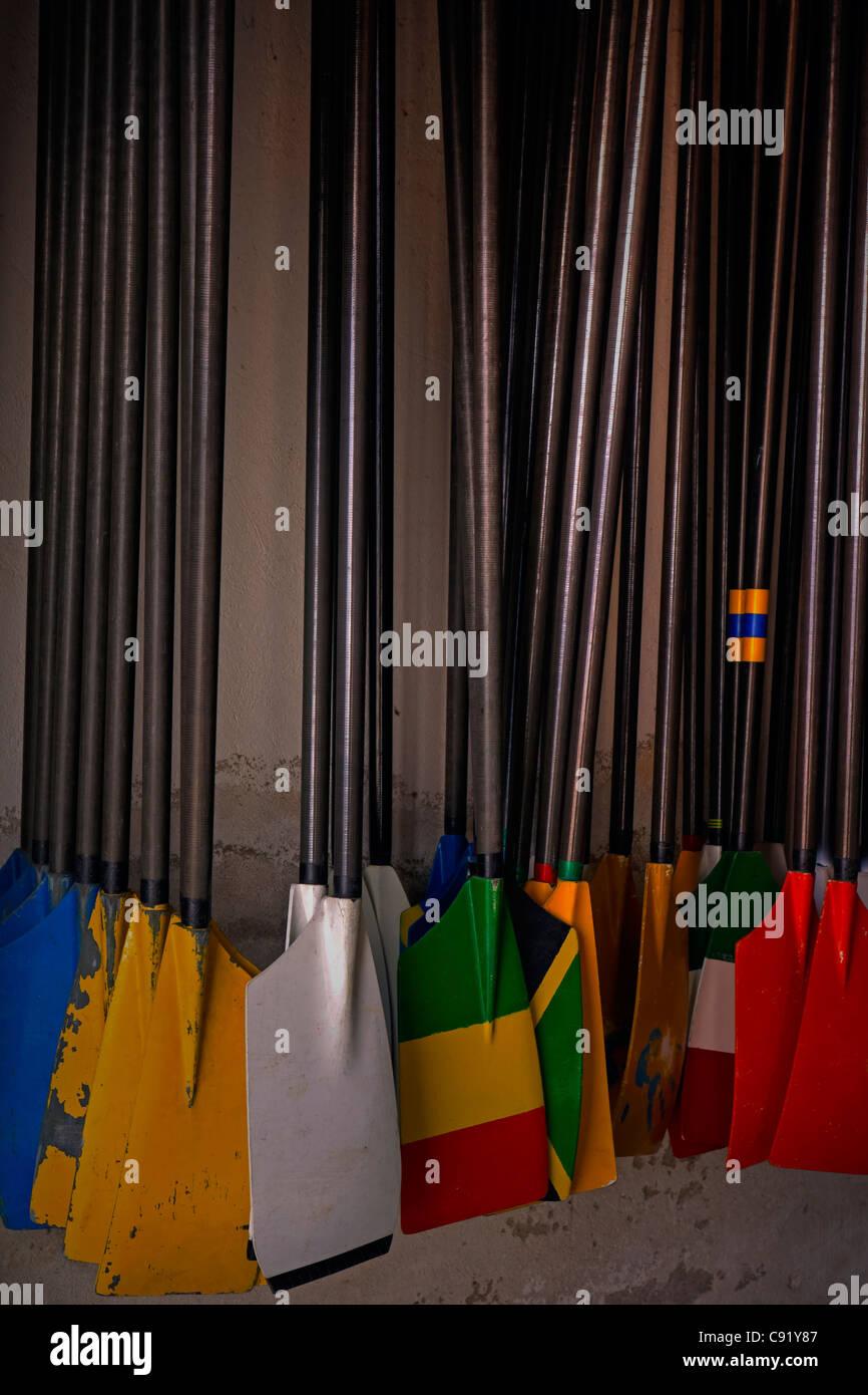 Varios timón colgado en la pared, pintada en color Imagen De Stock
