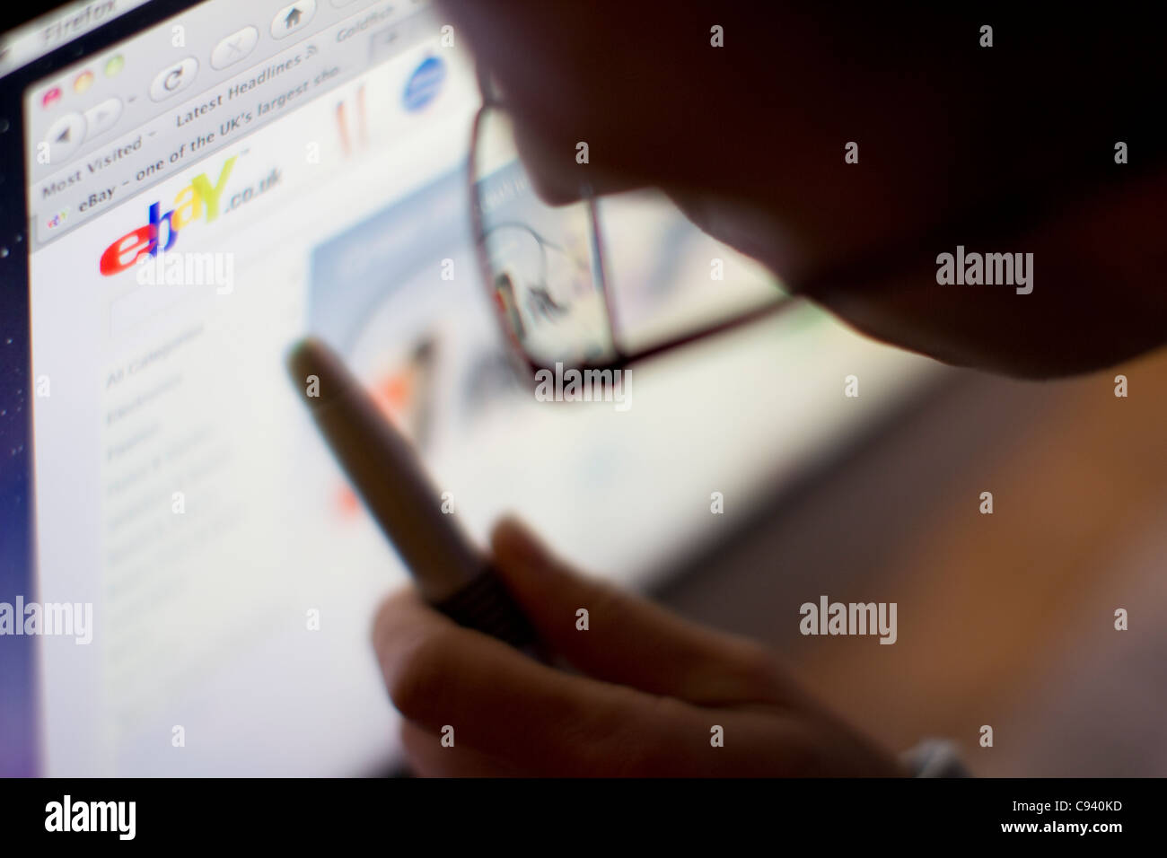 Internet en línea sitio web de ebay Imagen De Stock