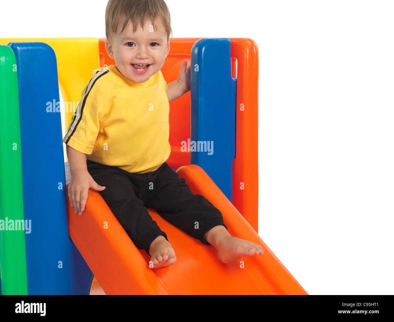 Feliz año y medio de edad en una diapositiva. Aislado sobre fondo blanco. Imagen De Stock