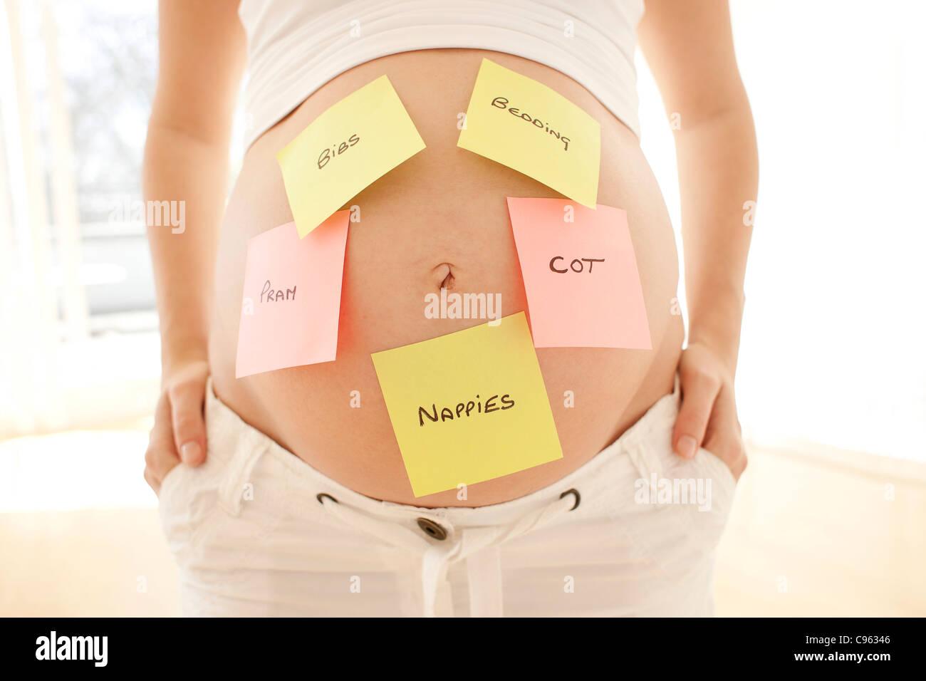 Planificación para el bebé. Foto de stock