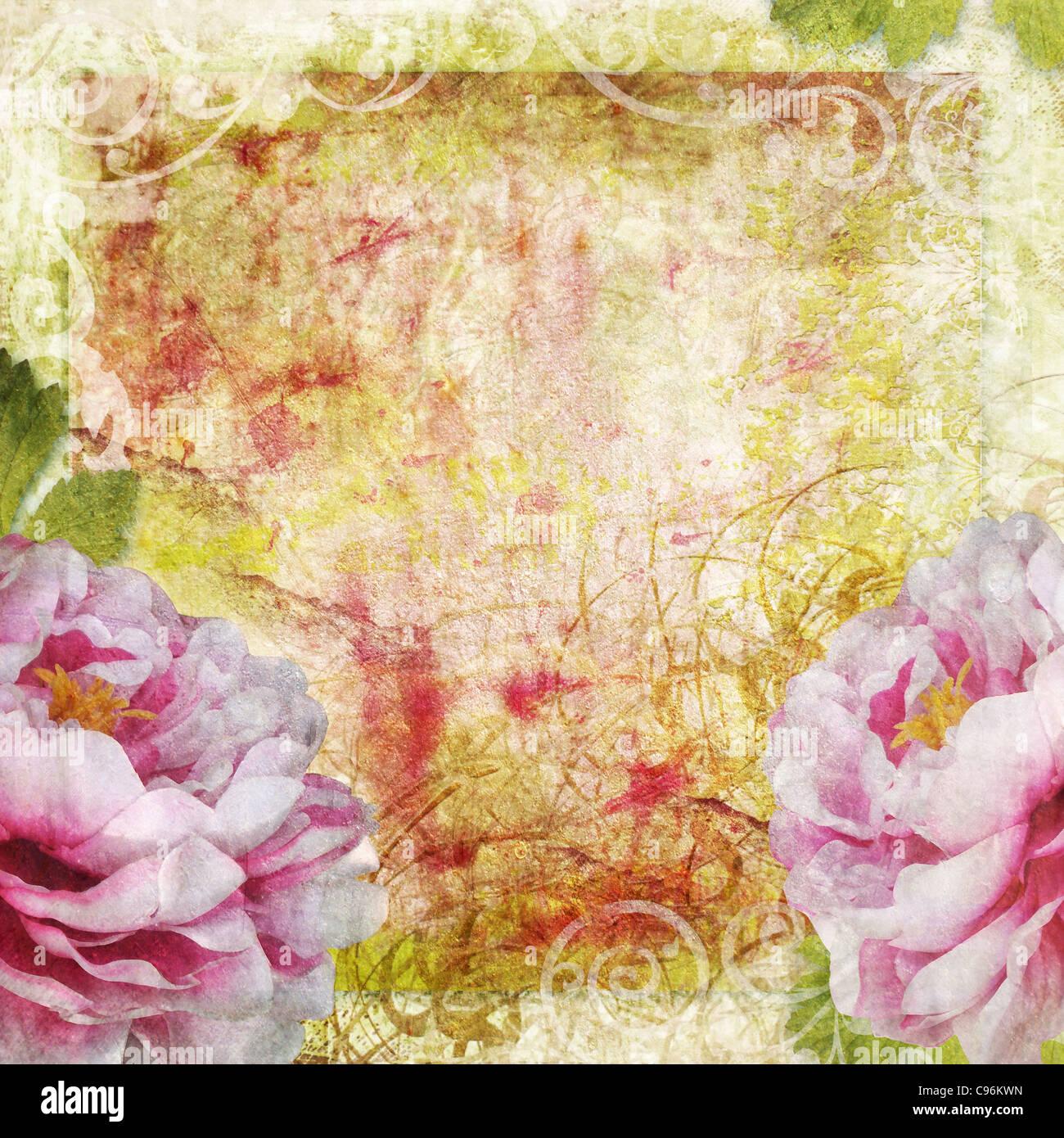 Retro de fondo floral en estilo de álbum Imagen De Stock