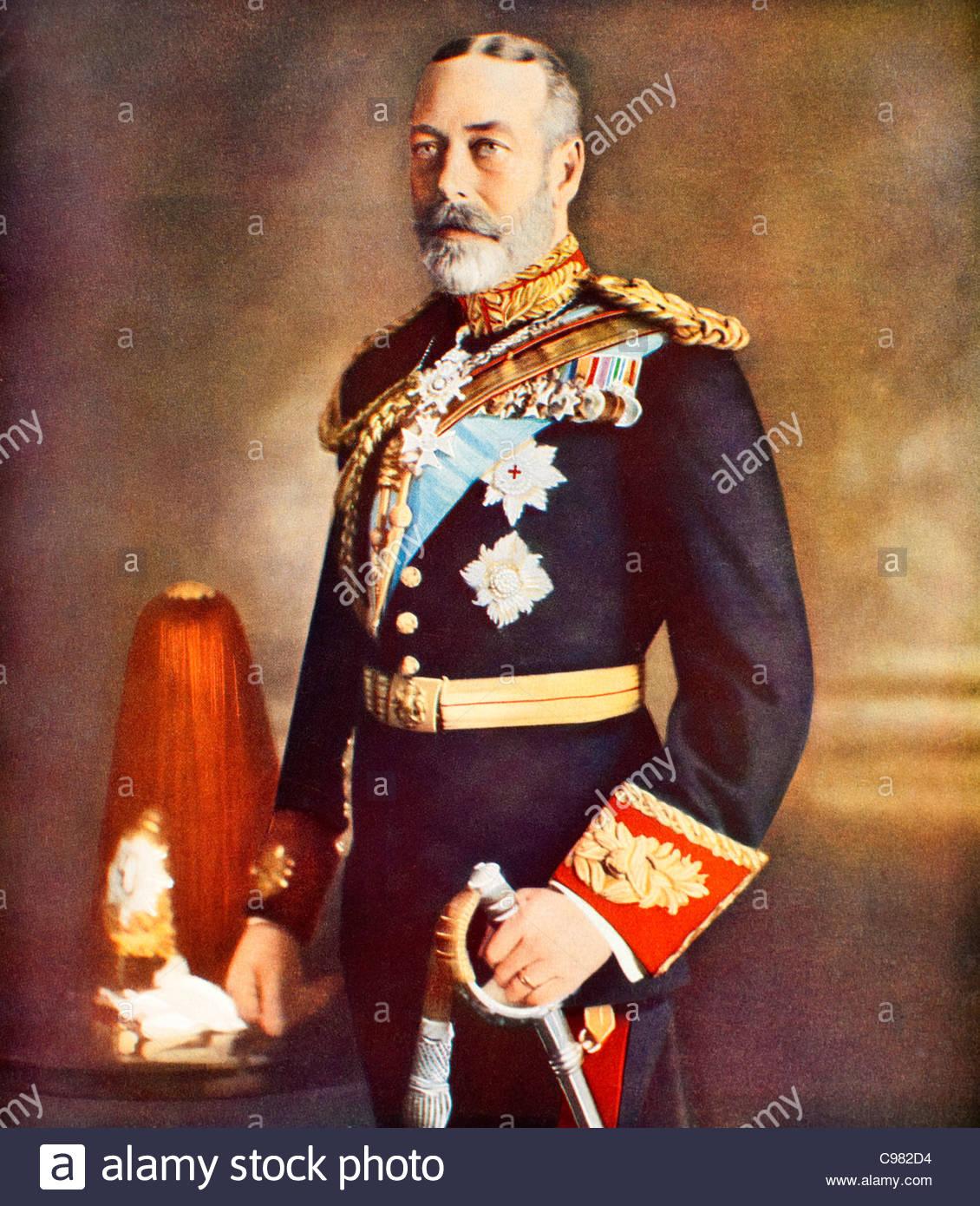 Antique retrato del rey Jorge V Imagen De Stock