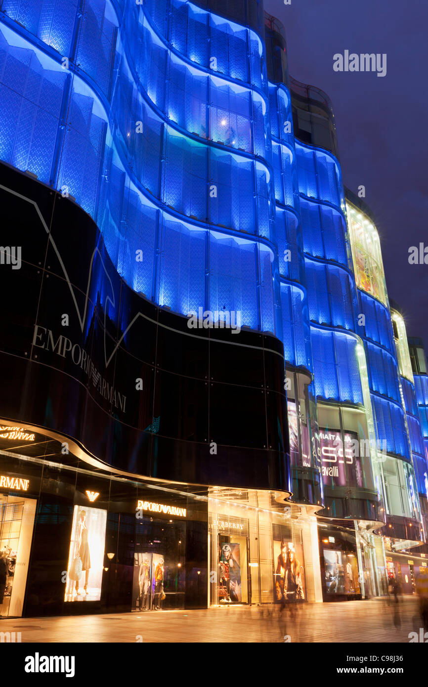 Department Store neón chino, frente a la calle Wangfujing Dajie, Central de Beijing, República Popular Imagen De Stock