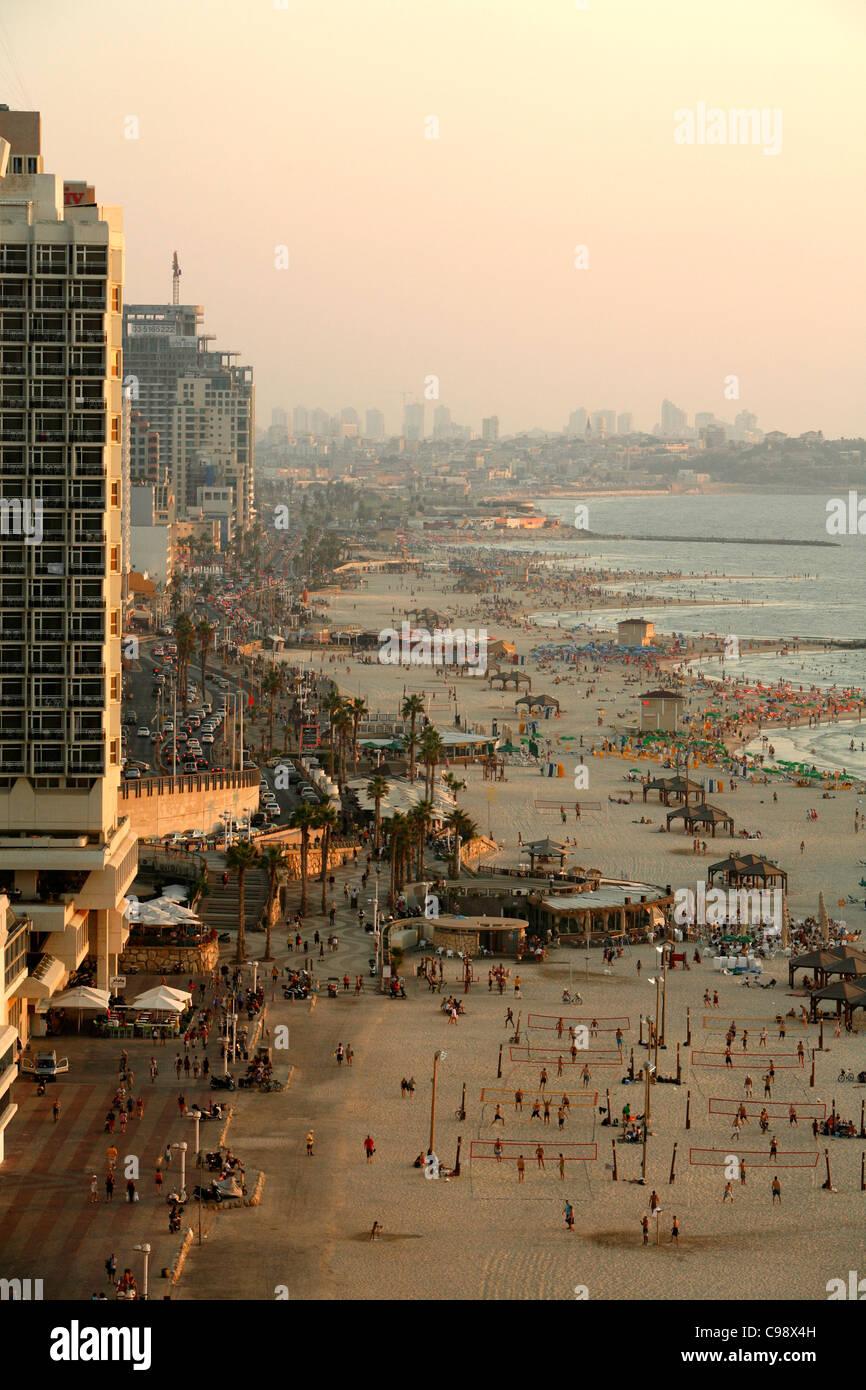 Vistas a la ciudad y las playas de Tel Aviv, Israel. Imagen De Stock