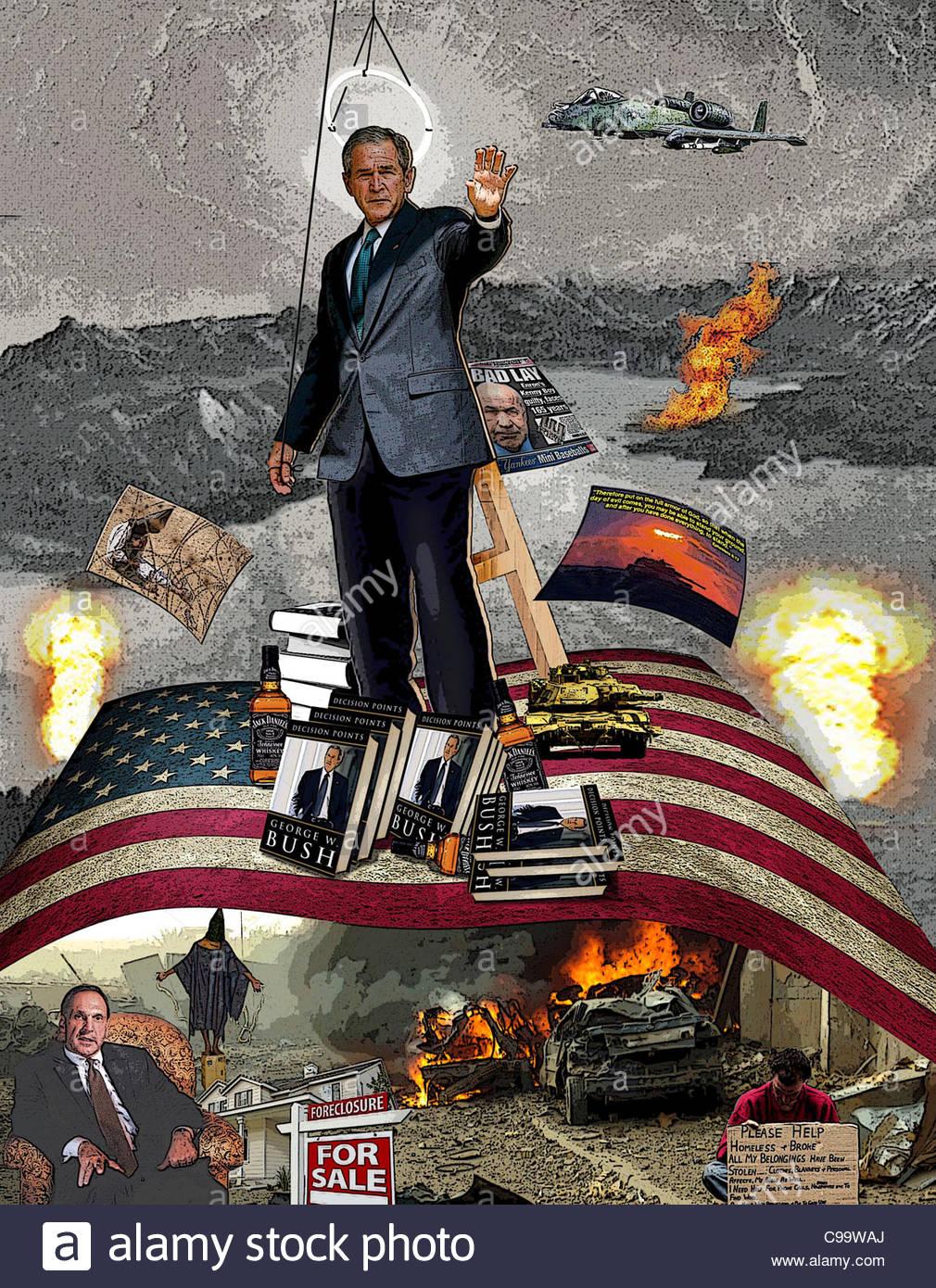 Bush Biografía canonización Guerra de Irak los escándalos de corrupción Imagen De Stock