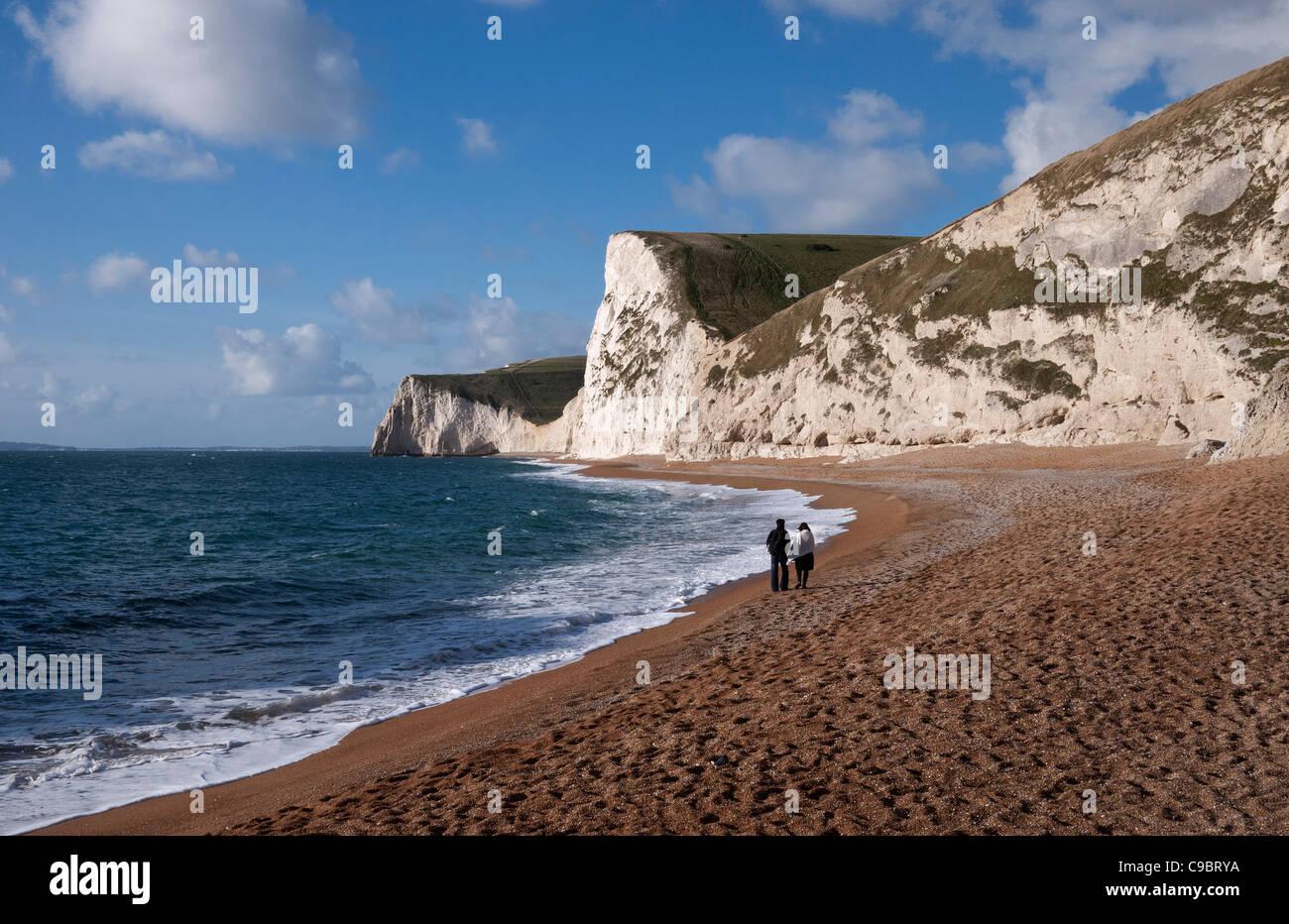 Costa Jurásica, Jefe Swyre y Bat en la cabeza, West Lulworth, Dorset, Inglaterra, Reino Unido. Foto de stock