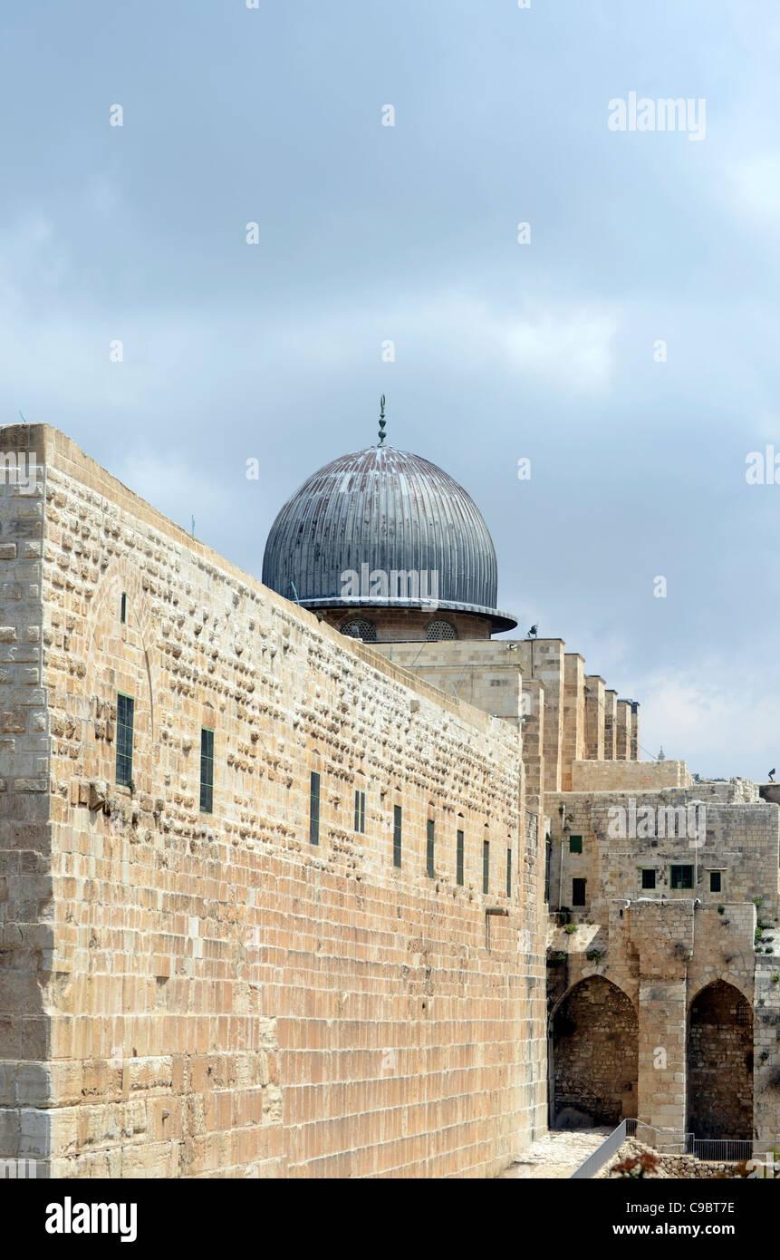 Israel, Jerusalén, Ciudad Vieja, la Mezquita de Al Aqsa en el Monte del Templo Foto de stock