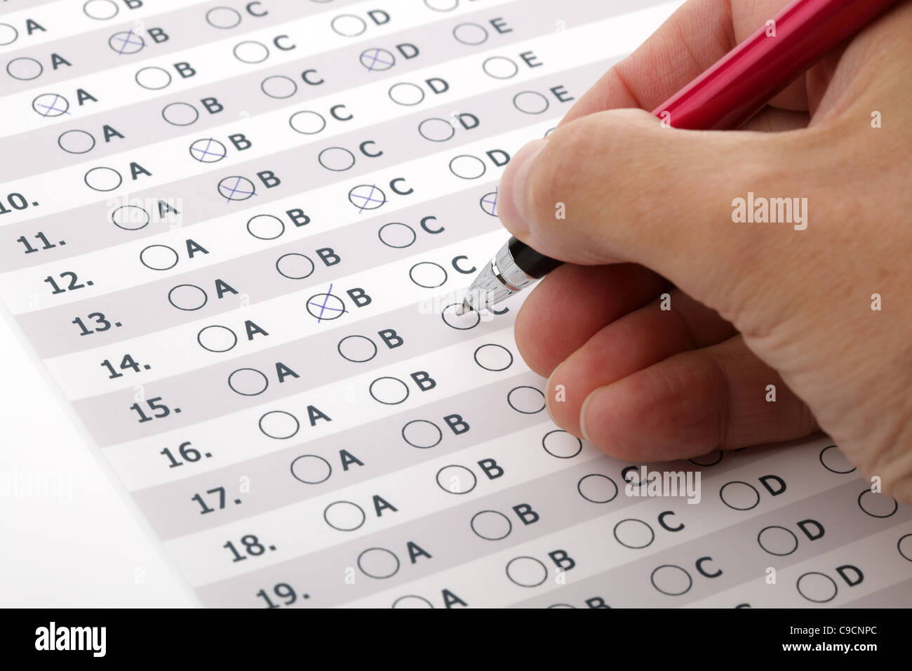 Encuesta de satisfacción del servicio de atención al cliente o examen de elección múltiple Imagen De Stock