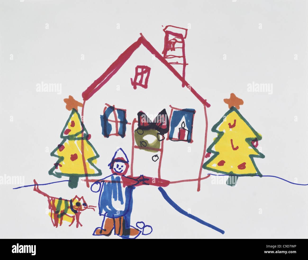 La temporada de vacaciones para niños colección privada de arte Foto de stock