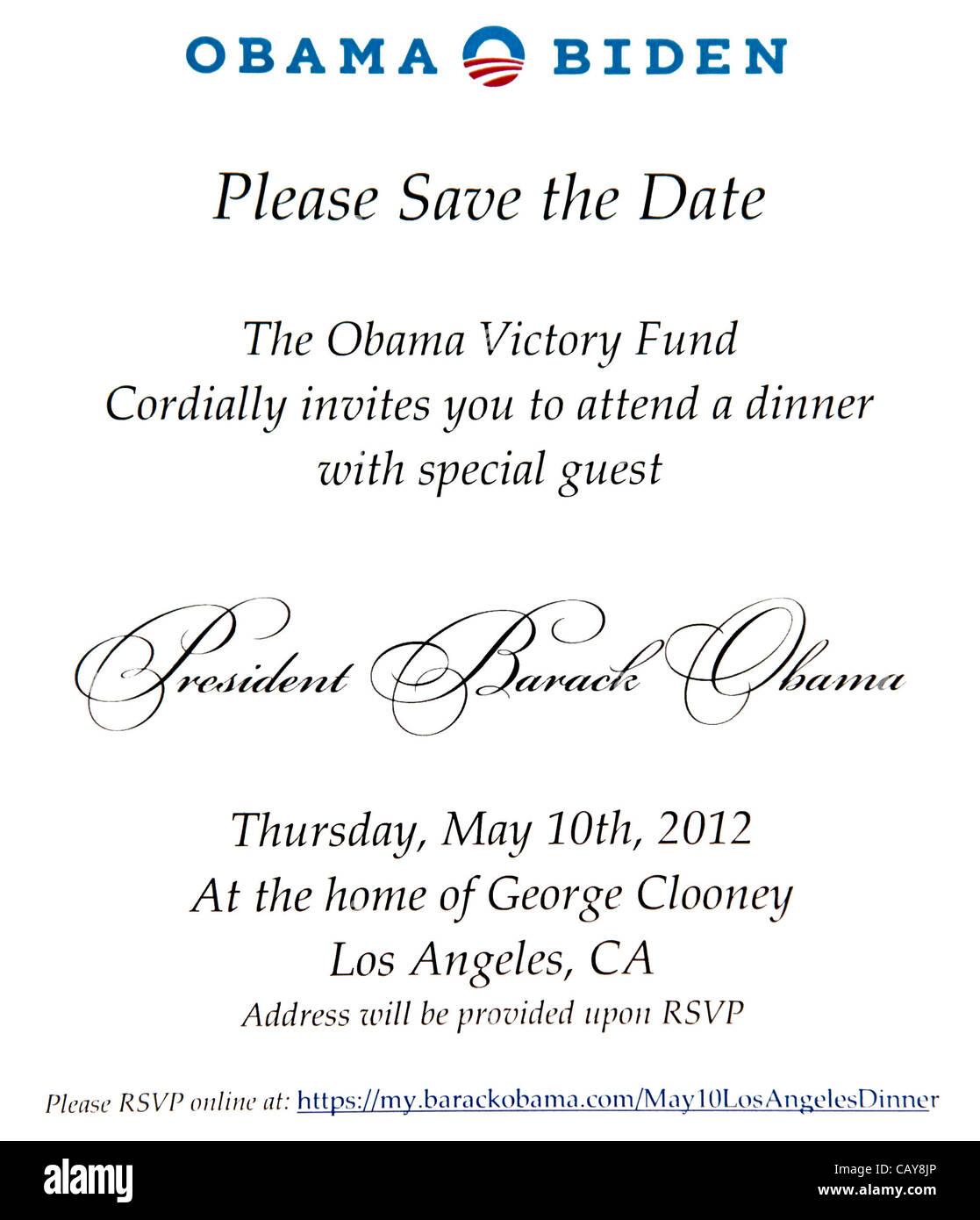 Mayo 7 2012 Los Angeles California Eeuu La Invitación Para