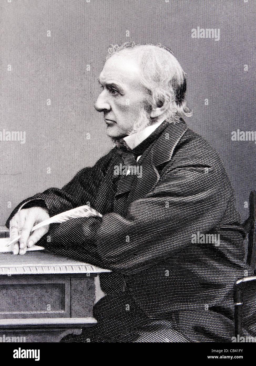 Grabado antiguo del Honorable William Ewart Gladstone MP (1809-1898), el Primer Ministro Británico Imagen De Stock