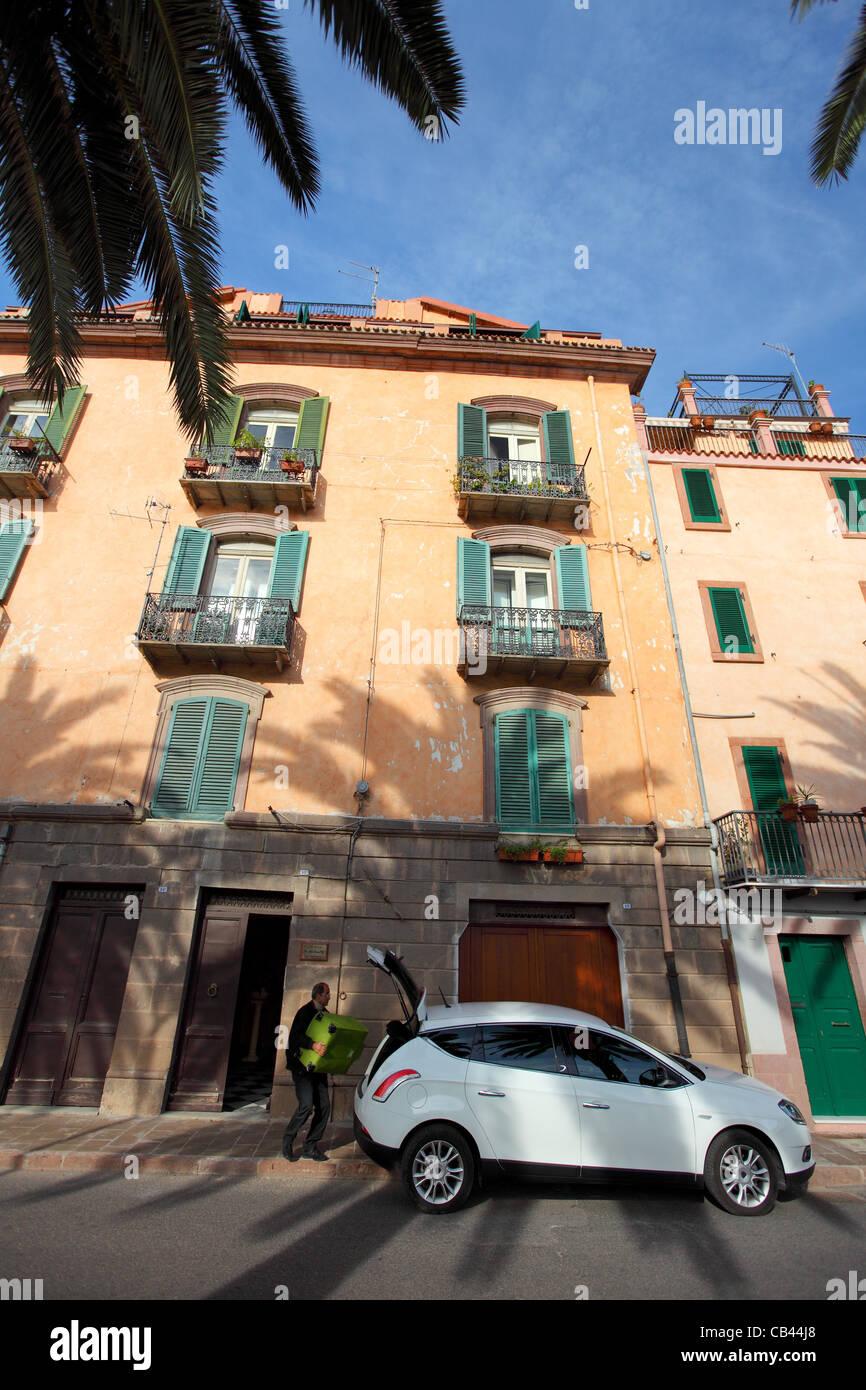 Bosa, Cerdeña, Cagliari, Italia, aldea de Bosa Foto de stock
