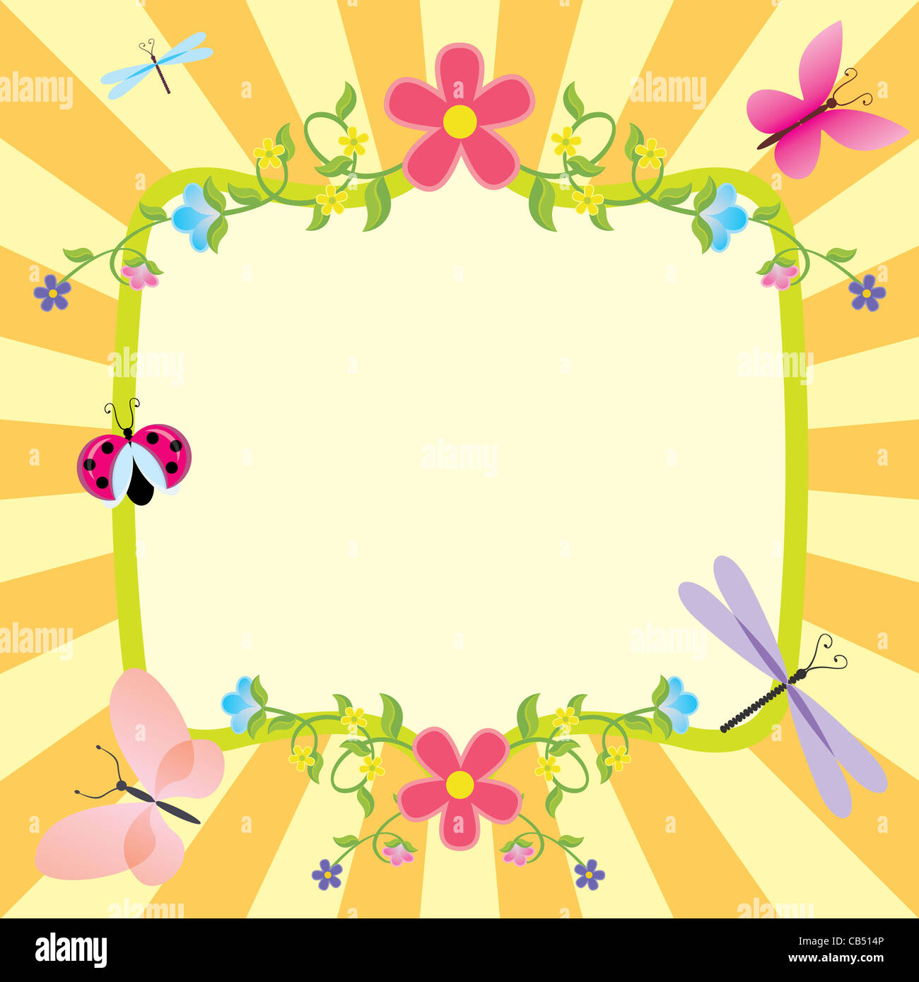 Bastidor de dibujos animados o primavera verano la pascua Imagen De Stock