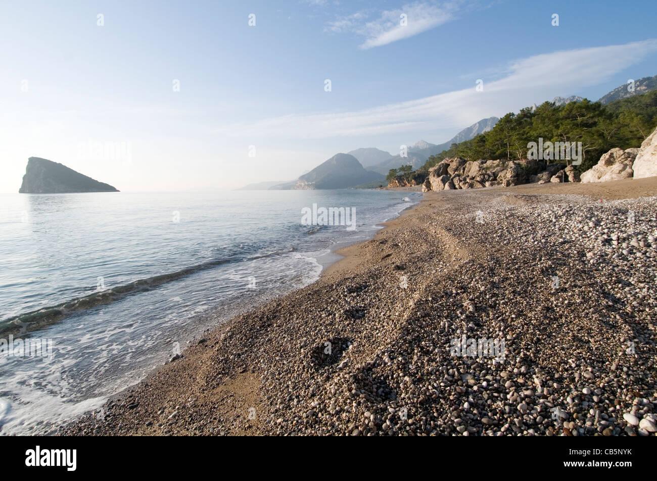 Turquía Turquía desiertas playas playa cerca de Antalya MAR MEDITERRÁNEO MAR Imagen De Stock