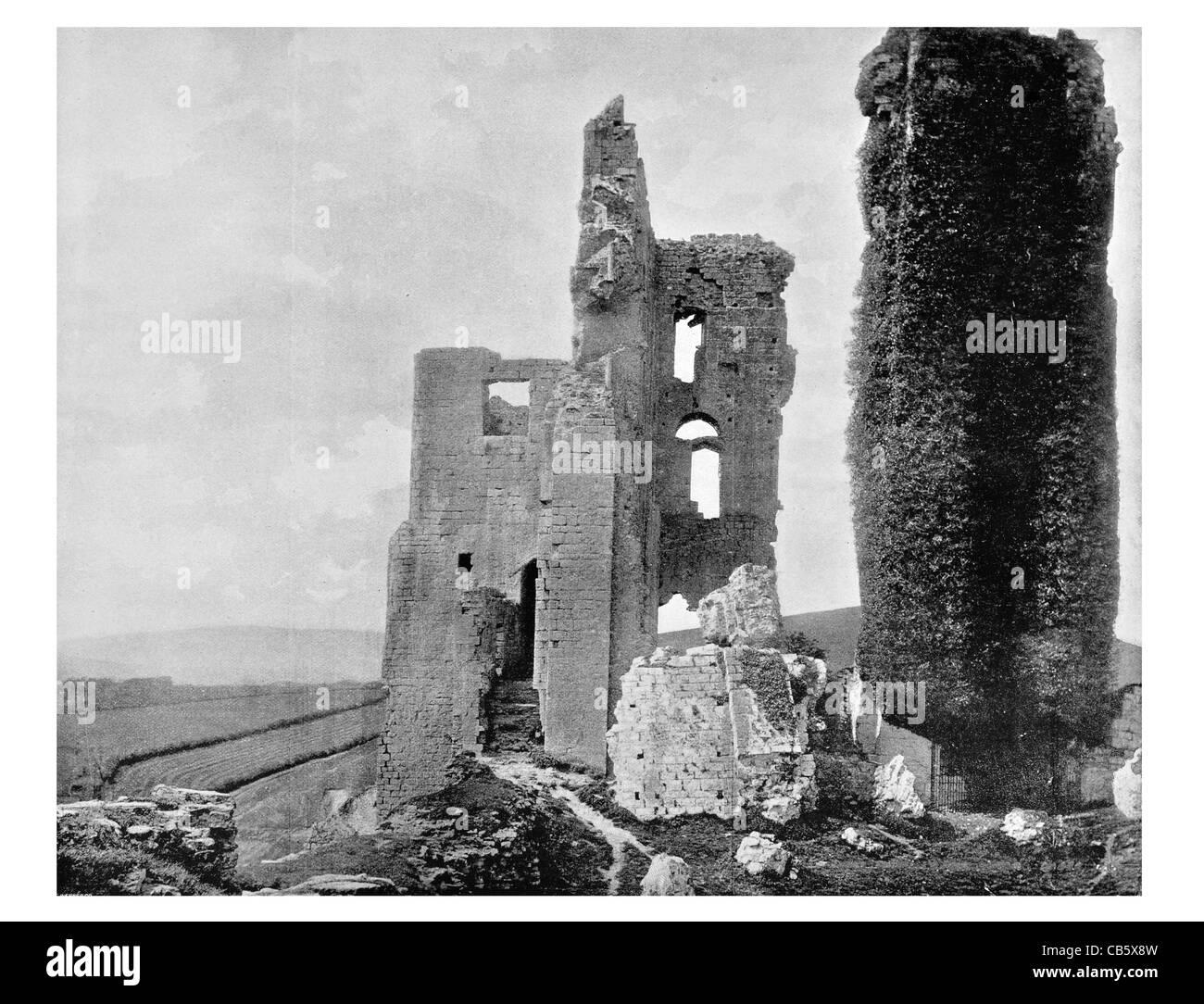 El castillo Corfe Inglés Dorset Purbeck Hills RUINA ruina arruinada Norman Bailey monumento histórico Foto de stock