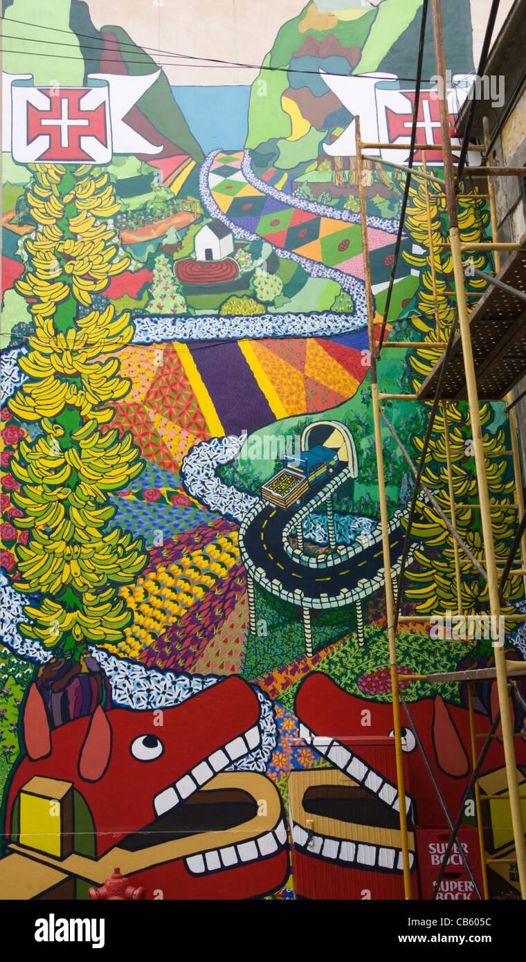 Arte en la calle, Zona Velha (Ciudad Vieja), Funchal, Madeira Imagen De Stock