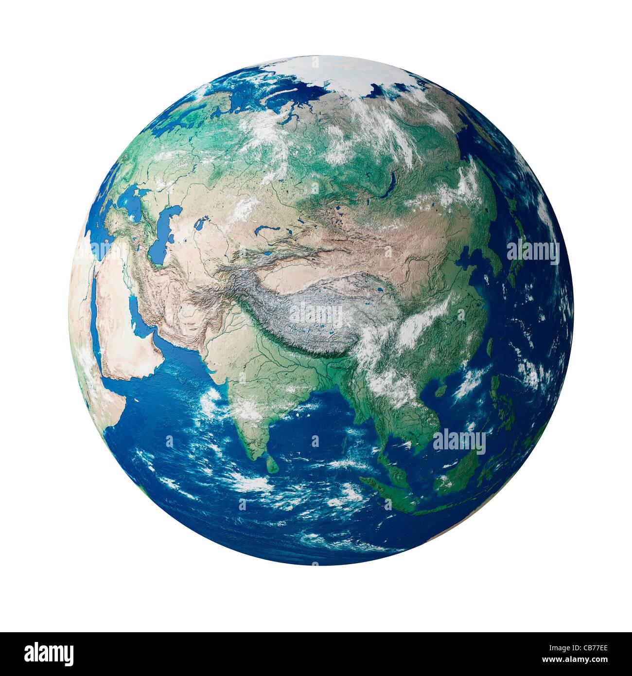 Mundo mostrando el continente de Asia en el planeta tierra Imagen De Stock
