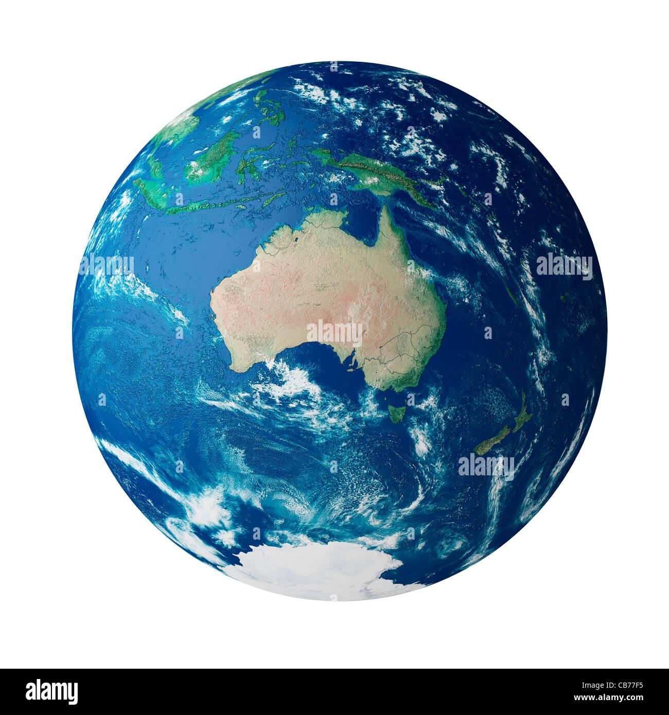 Mundo mostrando el continente de Australia en el planeta tierra Imagen De Stock
