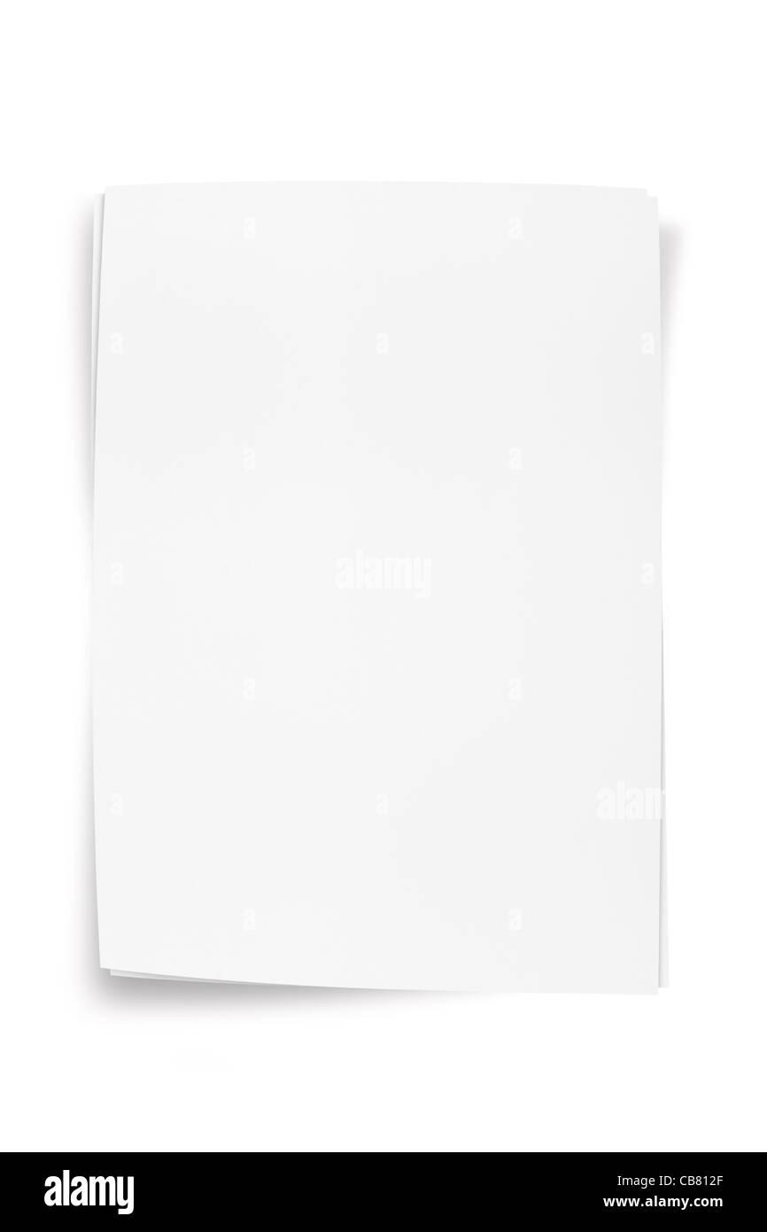 Hoja de papel blanco con trazado de recorte Imagen De Stock