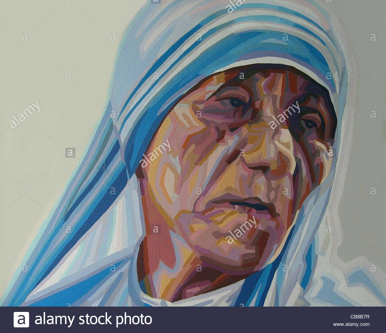 La madre Teresa de Calcuta India campañas serie caridad retrato madre Mamá M Imagen De Stock