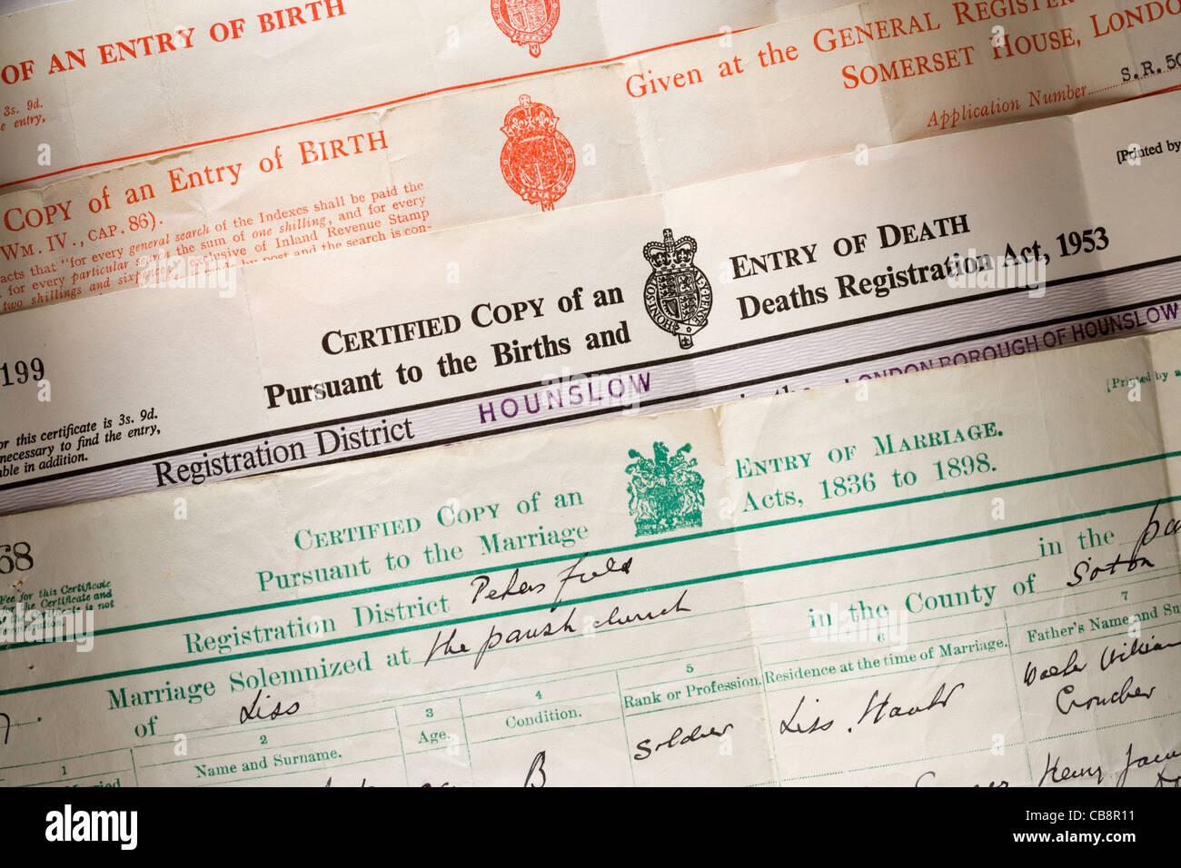 Antiguos certificados de nacimiento, defunción y matrimonio. En el ...
