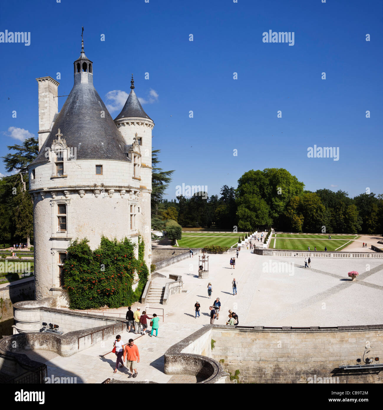 Marques de Torre y jardines mirando desde el interior de castillo de Chenonceau, Loire, Francia Imagen De Stock
