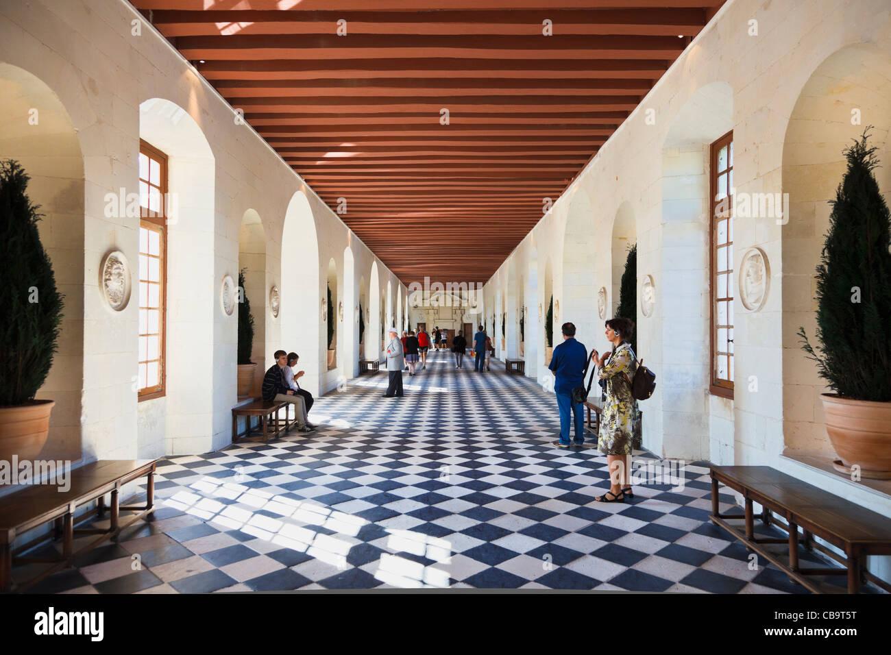 Great Hall en el Château de Chenonceau, Valle del Loira, Francia Imagen De Stock