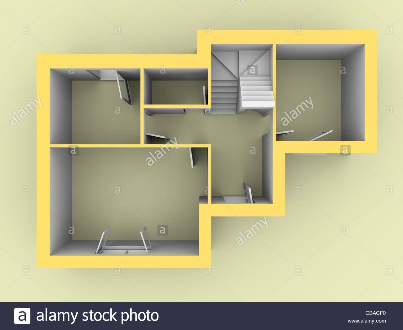 Modelo 3D de una casa como se ve desde la vista superior. Las puertas y ventanas están abiertas Foto de stock