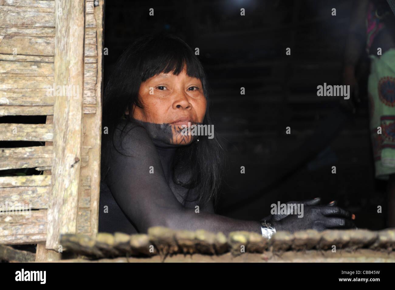 Mujer indígena Embera en la comunidad indígena Embera Puru en Panamá. Foto de stock