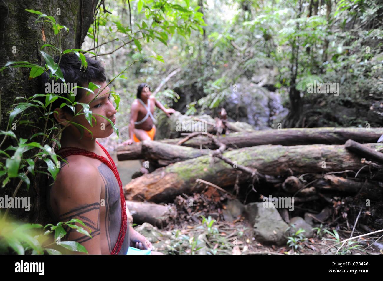 Embera indios en la selva de la comunidad indígena Embera Puru en Panamá. Foto de stock