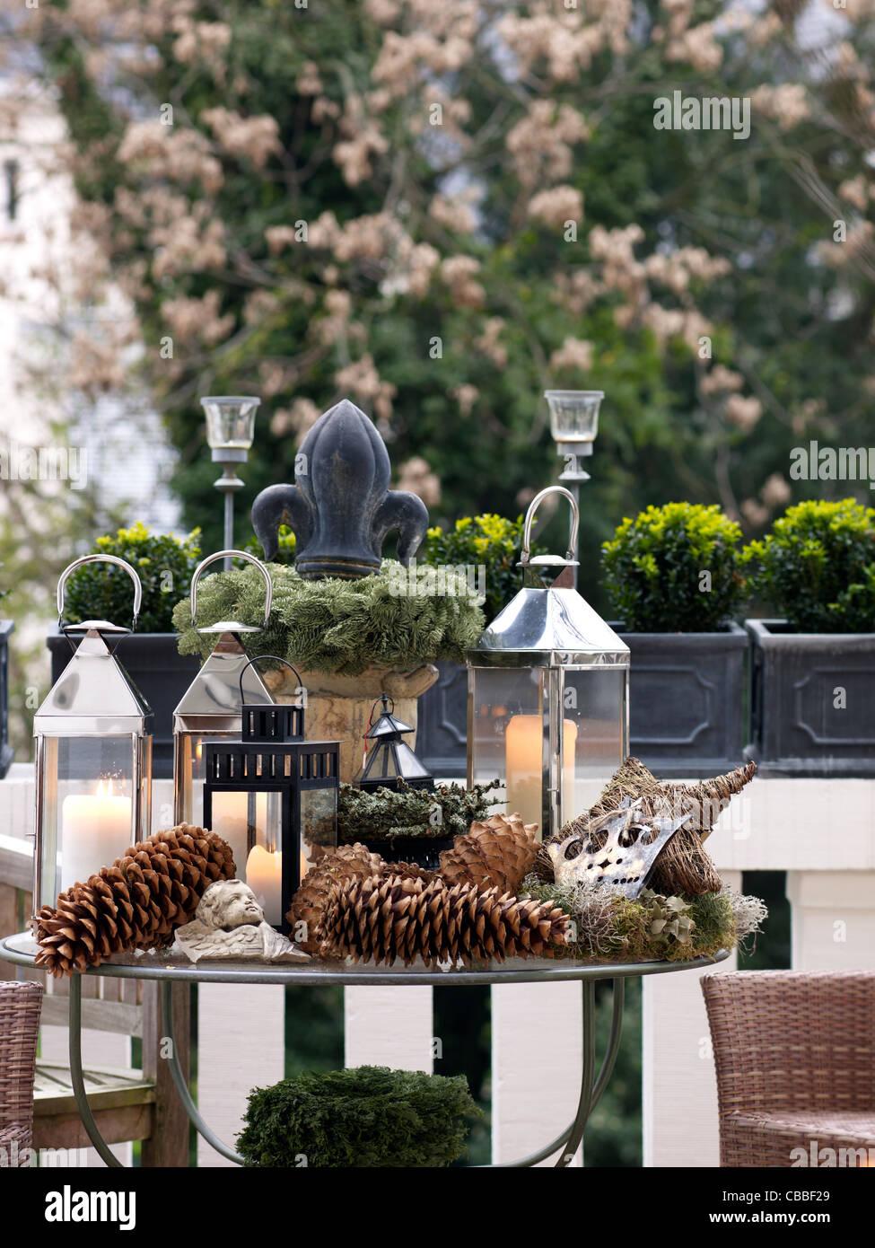 Decoración Muy Navideño En Una Terraza Foto Imagen De