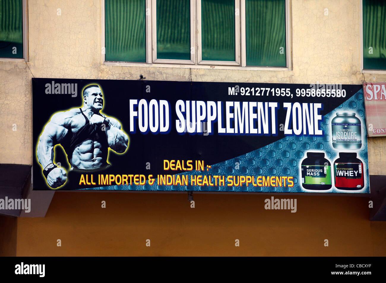 Culturismo,suplementos alimenticios,acaparamiento,cartel Imagen De Stock