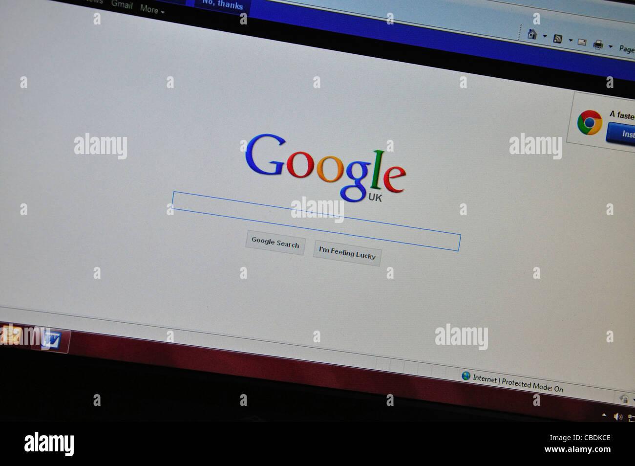 Página de búsqueda de Google en la pantalla de ordenador, Greater London, England, Reino Unido Imagen De Stock