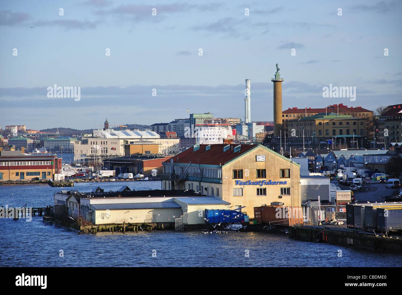 El puerto de Gotemburgo, en Gotemburgo, en la provincia de Västergötland & Bohuslän, Reino de Suecia Foto de stock