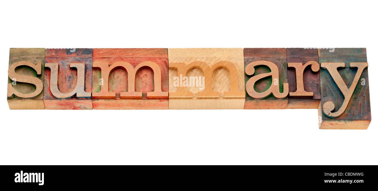 Resumen: La palabra aislada en vintage tipografía bloques de madera Imagen De Stock