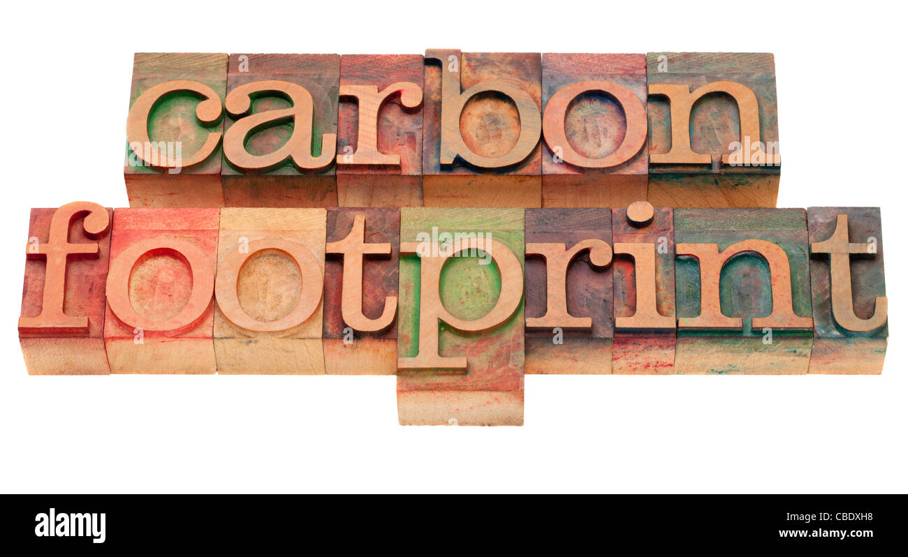 Huella de carbono - palabra pecado vintage tipografía, bloques de madera manchadas por tintas, aislado en blanco Imagen De Stock