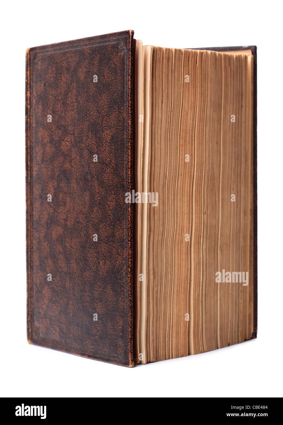 Libro de tapa dura marrón antiguos aislados Imagen De Stock