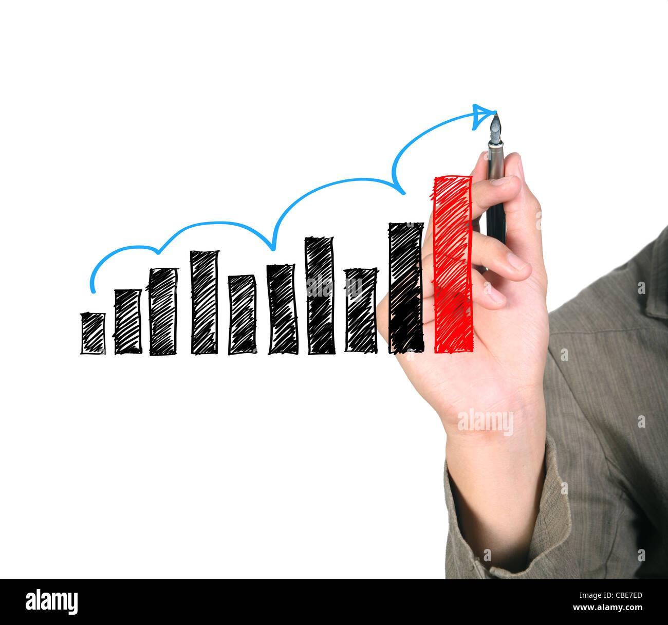 Hombre de negocios de dibujo a mano alzada flecha azul hacia arriba gráficos Imagen De Stock