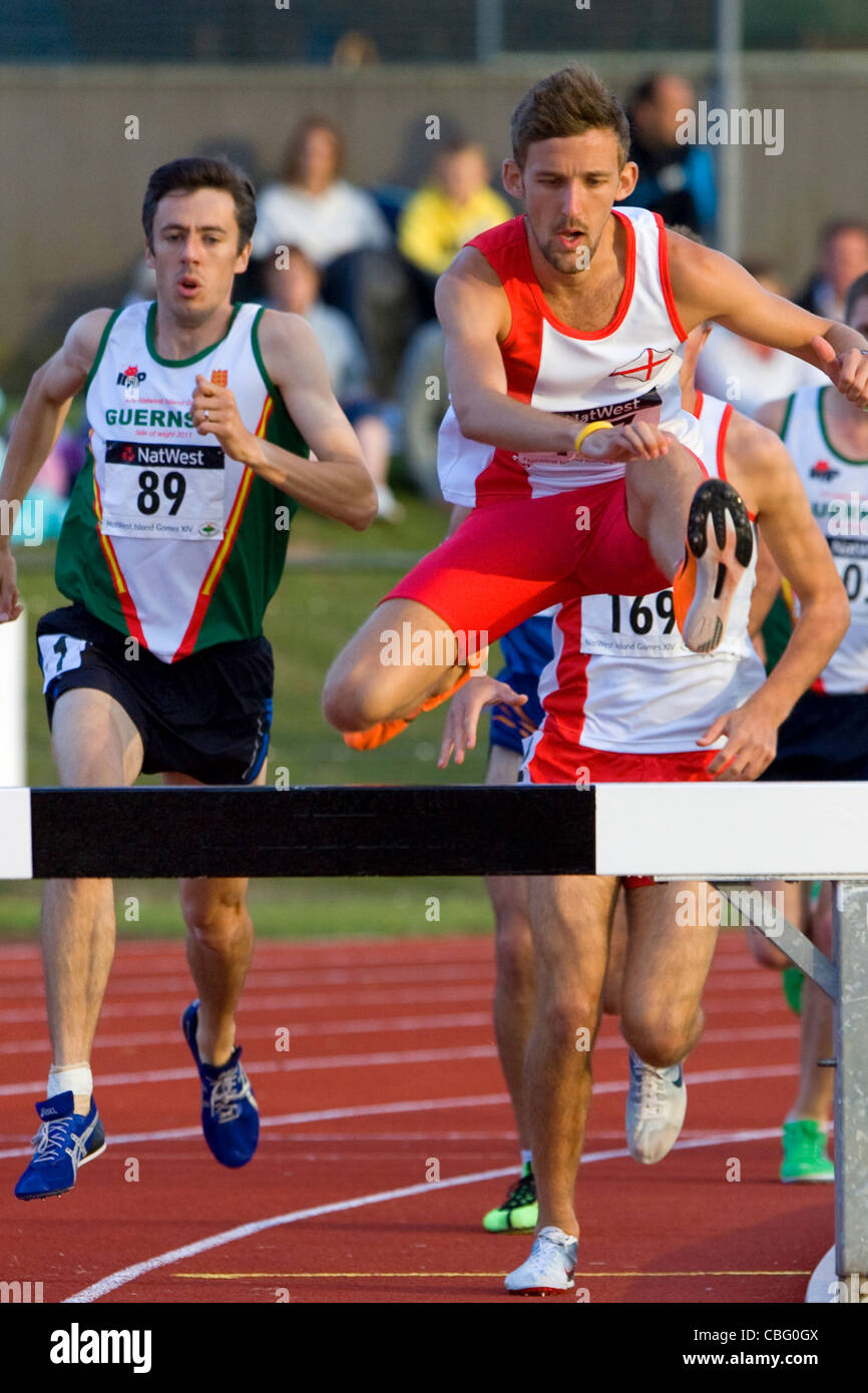 Atletismo, Natwest Island Games, Sandown High School, pista y campo, Sandown, en la Isla de Wight, Inglaterra, Reino Imagen De Stock