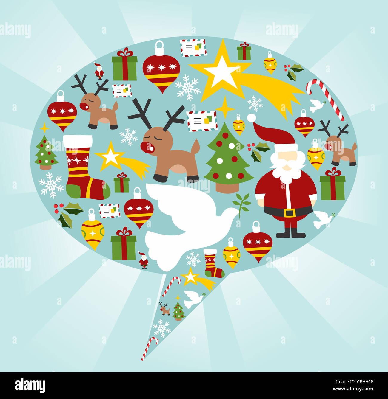Conjunto de iconos de Navidad en forma de burbuja de voz de fondo. Archivo vectorial disponible. Imagen De Stock