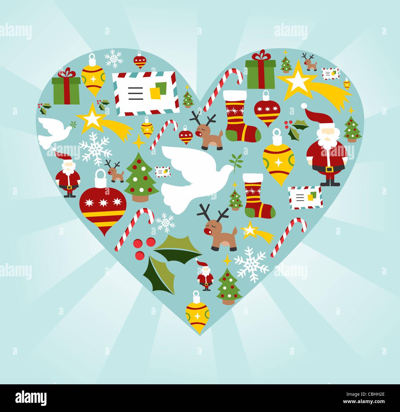 Conjunto de iconos de Navidad en forma de corazón de fondo. Archivo vectorial disponible. Imagen De Stock