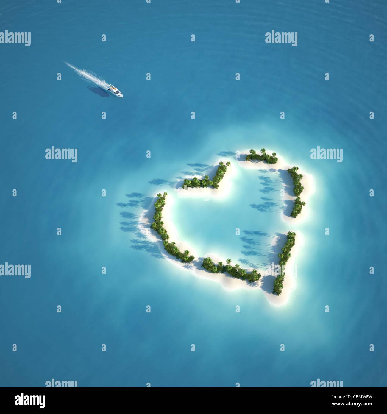Yate rumbo a la isla en forma de corazón visto desde el aire un concepto para vacaciones románticas o día de San Foto de stock