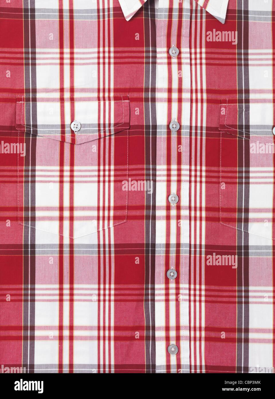 Camiseta con Mens tartan rojo y blanco de fondo de la trama Imagen De Stock