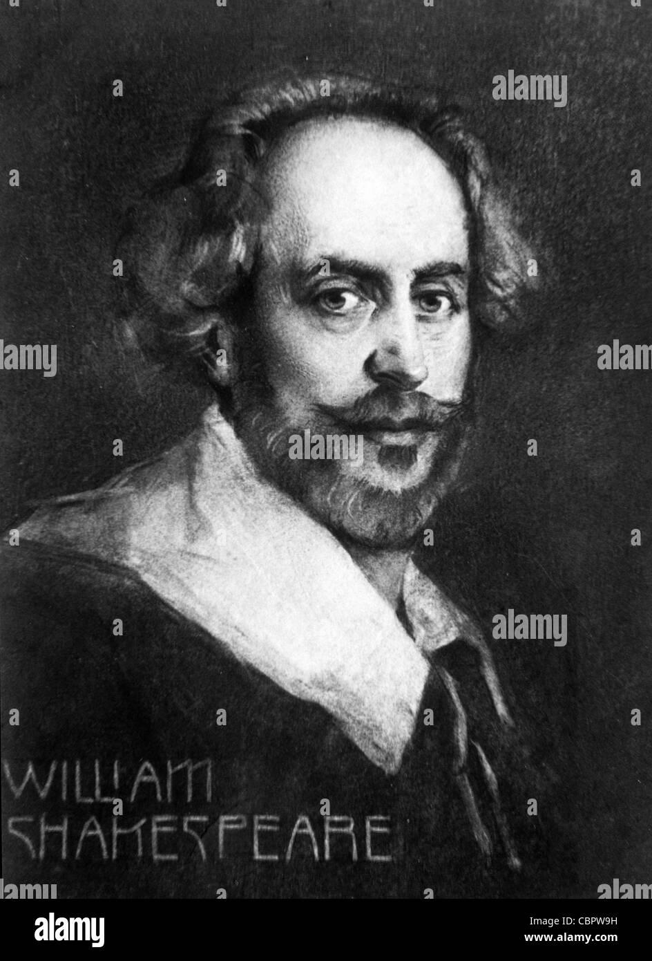 William Shakespeare (1564-1616) dramaturgo, escritor y poeta inglés. Retrato. Ilustración Vintage o Grabado Foto de stock