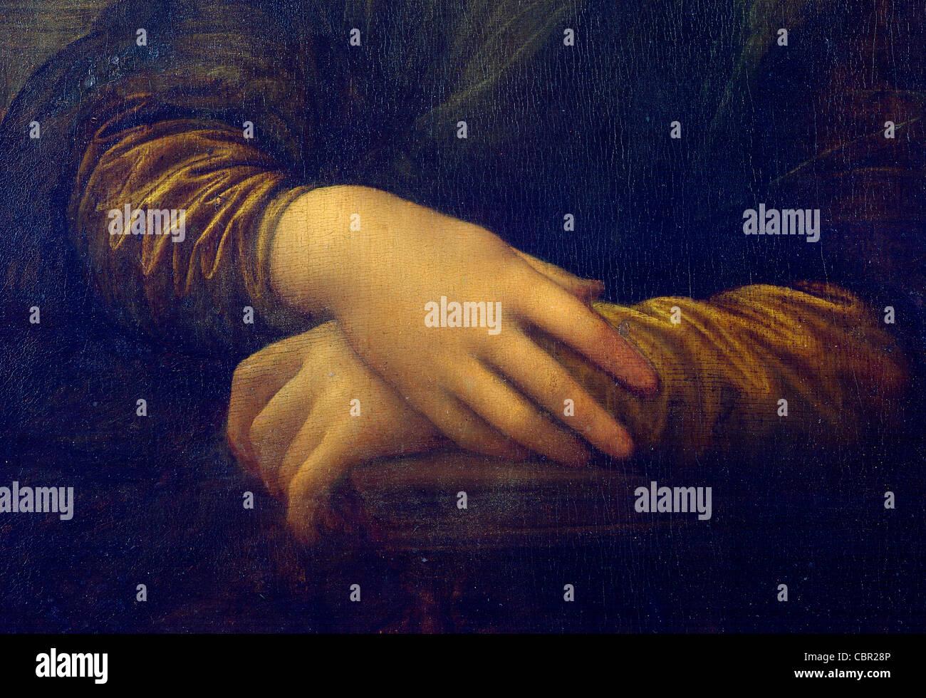 Las manos de la Mona Lisa de Leonardo da Vinci Imagen De Stock