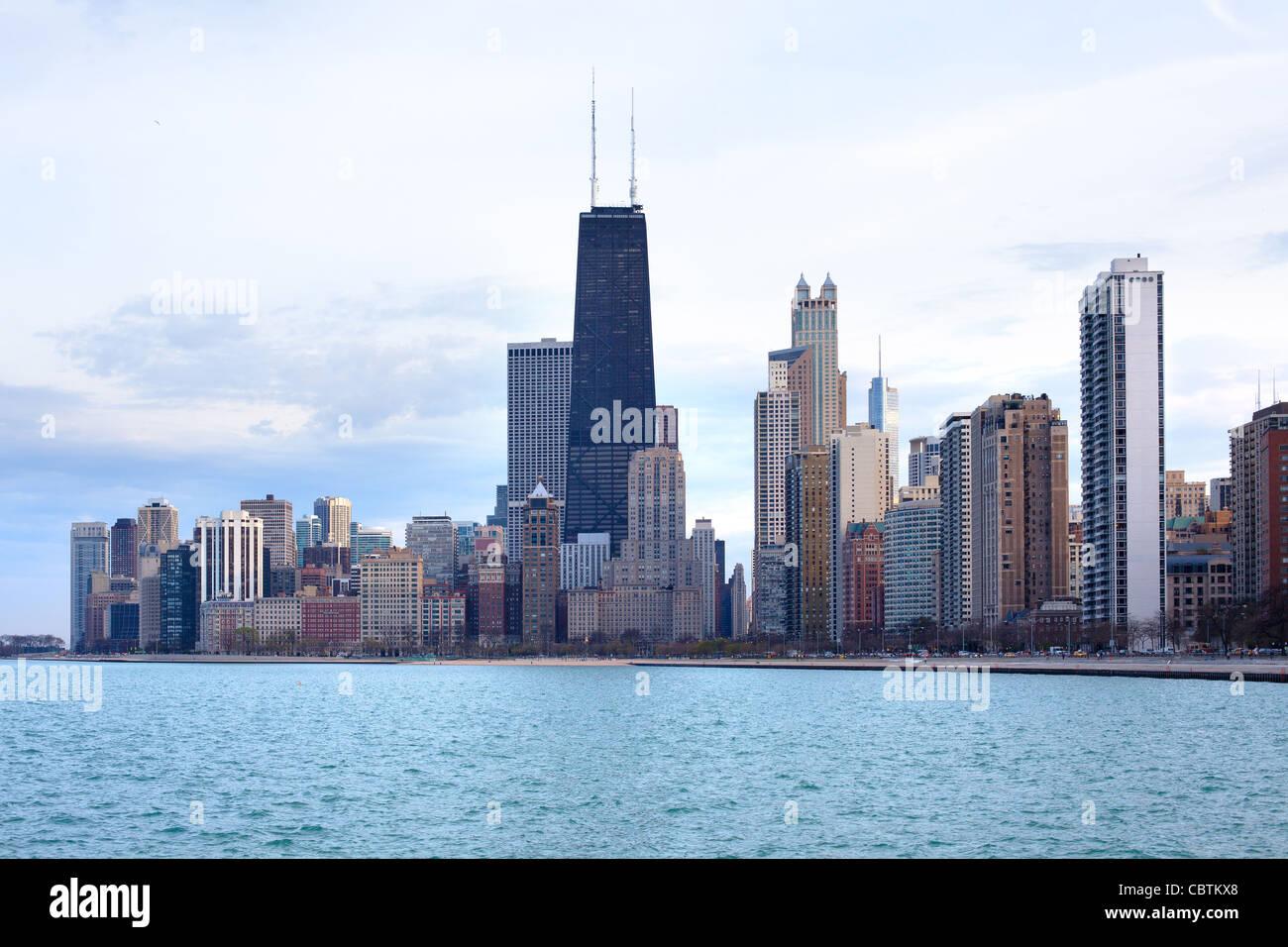 Perfil del centro de la ciudad, Chicago, Illinois, EE.UU. Imagen De Stock