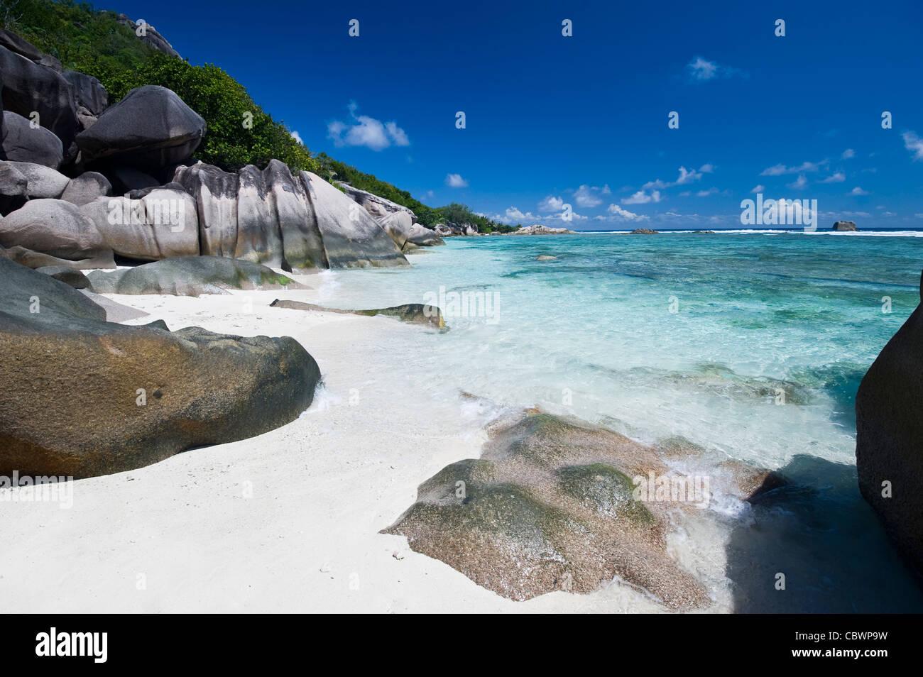 Playa Tropical, La Digue, Seychelles Foto de stock