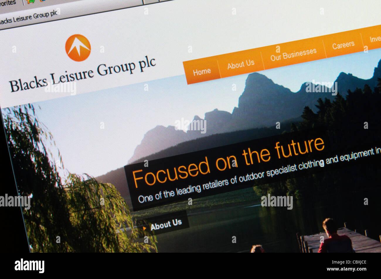 El sitio web de negros Leisure Group plc. Imagen De Stock